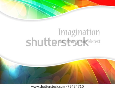 Bright rainbow background with floral elements
