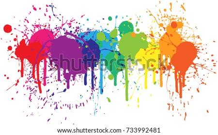 bright rainbow of dripping