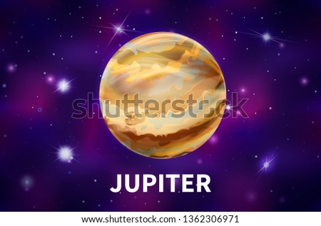 Bright realistic Jupiter planet on colorful deep space background with bright stars and constellations