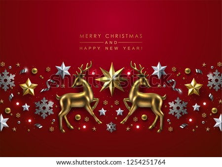Bright Red Christmas Background with Chic Horizontal Border Made of Gold Stars, Silver Glitter Snowflakes and Glass Reindeer.