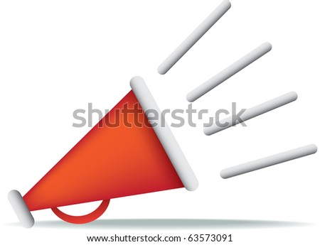Bright Red Directors Megaphone Icon On White Background ...
