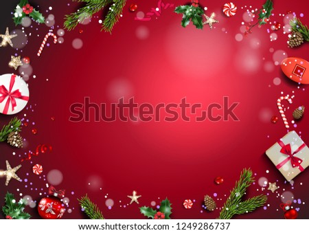 Bright red holiday illustration card with Christmas decorations and balls, stars, gift boxes, fir tree branches on fairy background. Christmas festive template. #1249286737