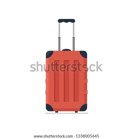 Bright red plastic travel suitcase on wheels and with telescopic handle. Business and family summer vacation luggage, journey package icon. Vector flat illustration isolated on white background.