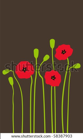 Bright red poppies on a dark background