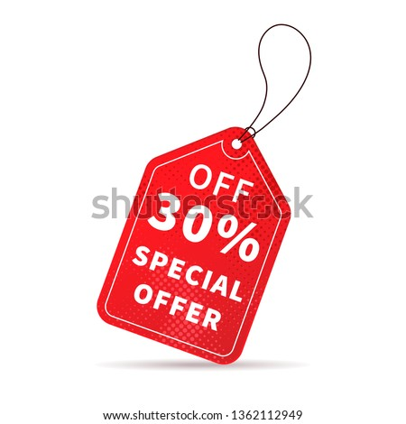 Bright red sale price label isolated on white