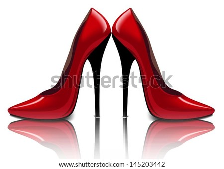 Bright red shoes, vector illustration