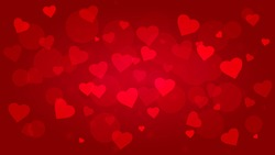 bright red vector background for Valentine's Day or wedding with hearts and highlights
