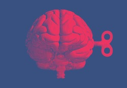 Bright red vintage engraved drawing human brain with wind up in front view point glyph illustration style isolated on deep blue background