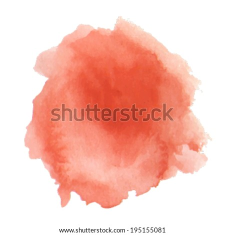 bright red watercolor splash on white background