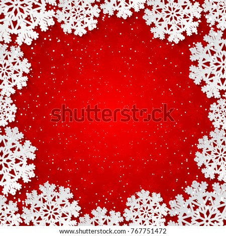 Bright red winter square frame with paper cut out snowflake decoration. Vector illustration