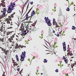 Bright romantic seamless pattern with many wildflowers on a light gray background with small pink flowers. Elements are arranged vertically, randomly. Vector for textile, wallpaper, tile