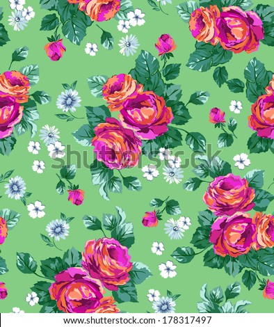 bright rose seamless vector print