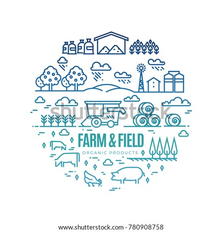 Bright rural landscape and agriculture farming thin line icons - organic products label concept. Landscape and agriculture label illustration