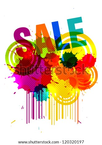 Bright sale poster with paint blots and colored bar code. EPS10 vector.