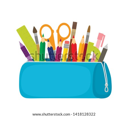 Bright school pencil case with filling school stationery such as pens, pencils, scissors, ruler, tassels. concept of September 1, go to school. flat vector illustration isolated on white background