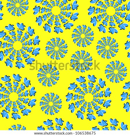 Bright seamless background with the optical illusion of rotation executed from flying dark blue butterflies