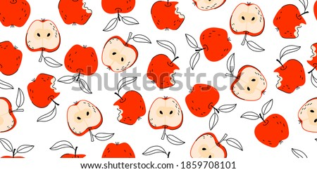 Bright Seamless Fruit Background Apples Vector Pattern with leaves and apple slice. Set of whole apple, cut and bitten off apple. Vector hand drawn illustration for fabric, drawing labels, print.