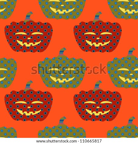 bright seamless ornament with Halloween pumpkins