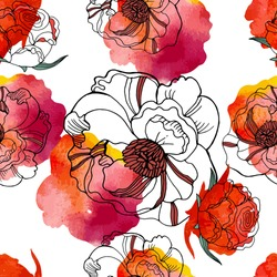 Bright seamless pattern with beautiful roses and meadow flowers. Watercolor textured. Floral background for home textiles, interiors, linens, cotton fabric.