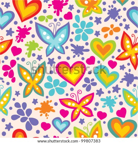 bright seamless pattern with butterflies and hearts