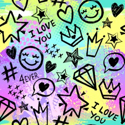Bright seamless pattern with colorful hearts, words and hand drawing elements. Texture background. Wallpaper for teenager girls. Fashion style