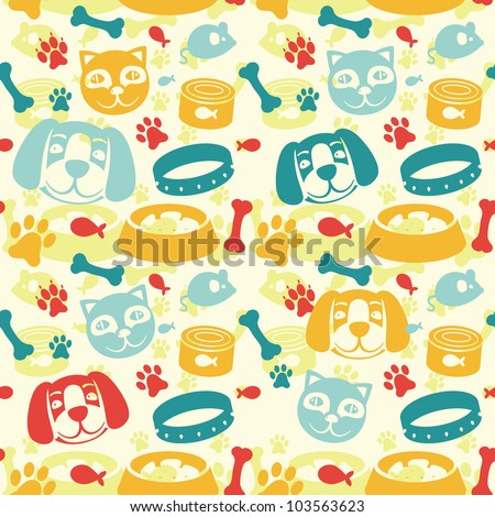 bright seamless pattern with funny cat and dog - vector illustration