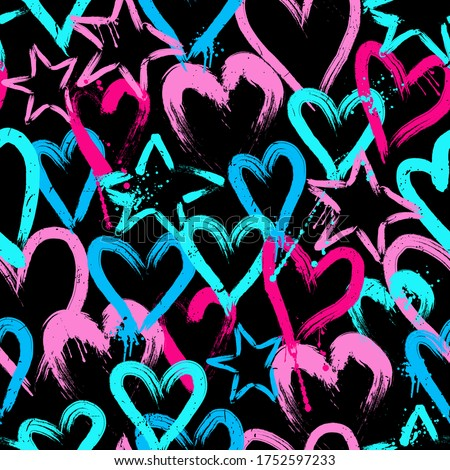 bright seamless pattern with hearts and stars. Hand-drawn heart background for girls. for textiles, clothing, wrapping paper and more