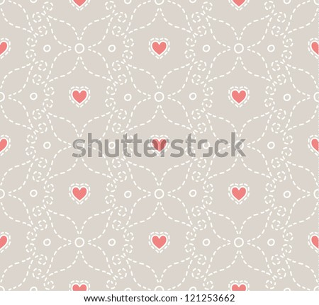 Bright seamless pattern with stitches and hearts. Valentine day theme.