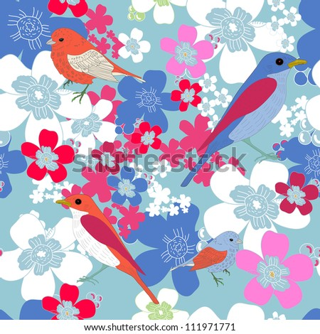 Bright seamless vector texture with birds and flowers