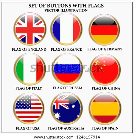 Bright set of banners with flags. Colorful illustration with flags of the world for web design. Vector illustration #1246157914