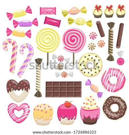 bright set with sweets lollipops donuts candy muffins chocolate candies