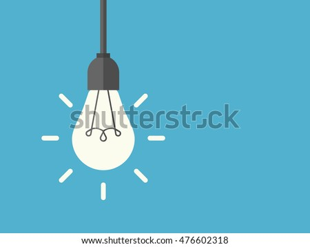 Bright shining lightbulb with rays hanging on wire, blue background. Energy, idea and insight concept. Flat design. Vector illustration. EPS 8, no transparency