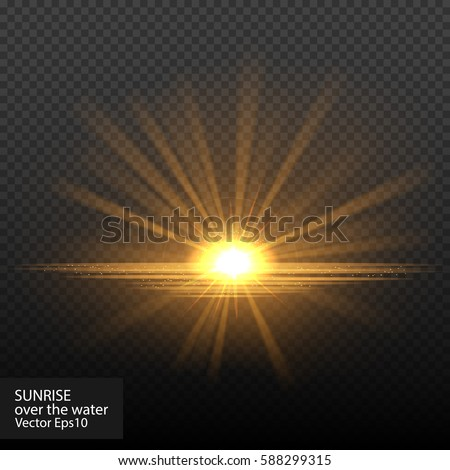 Bright shining sun/star. Isolated on black background. Sunrise over the water. Vector illustration, eps 10.