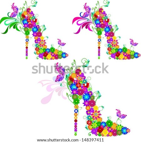 bright shoes of vector flowers