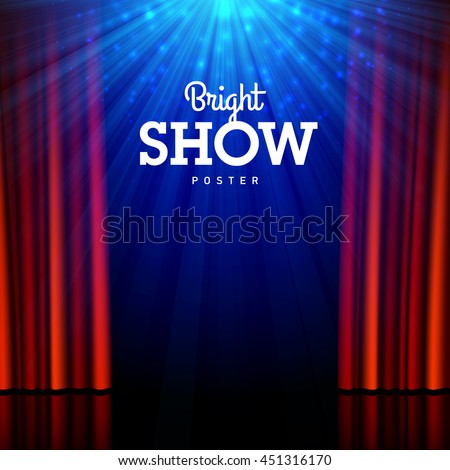 Bright show poster design template. Stage, spotlights and open curtains. Vector illustration. ストックフォト ©