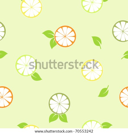 Bright slices of citruses with green leaves. Seamless pattern