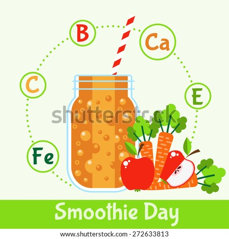 Bright smoothie with fruits and vegetables. Illustration in Flat style. Vitamin cocktail recipe healthy lifestyle. vector