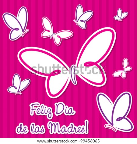 """Bright Spanish butterfly """"Happy Mother's Day"""" sticker card in vector format."""