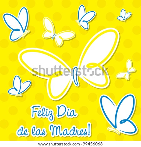 "Bright Spanish butterfly ""Happy Mother's Day"" sticker card in vector format."