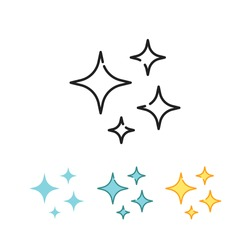 bright sparkles, glowing, starbust, magic stars, bright stars illustration. firework stars and glitter celebration. Shine icon, clean star icon. vector illustration. design on white background. EPS10
