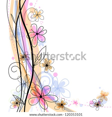 Bright spring floral background with pink flowers. Eps10