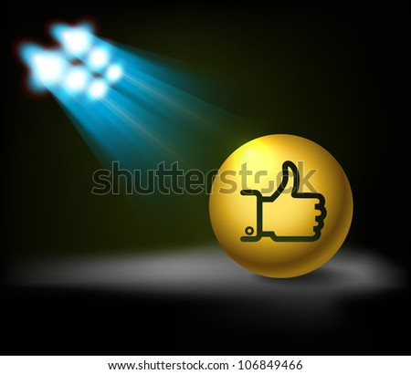 "Bright stage with ""Like"" symbol - stock vector"