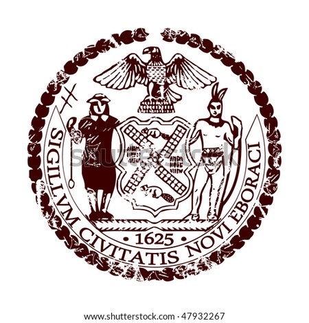 Bright stamp with the symbol of the city of New York.