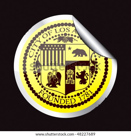 Bright sticker with the symbol of the city of Los Angeles.