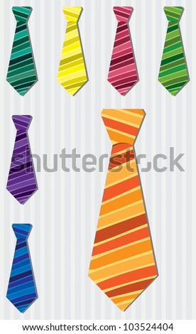 Bright stripe silk tie stickers in vector format.
