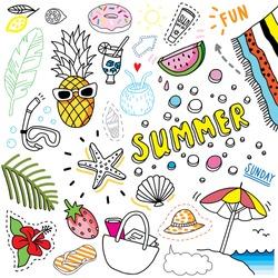 bright summer doodle set