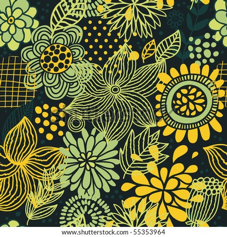 Bright summer floral seamless pattern