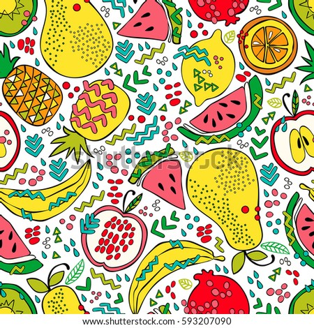 Bright summer fruit: watermelon, kiwi, apple, pear, orange, lemon, pomegranate, pineapple, banana. Seamless vector pattern (background). Fruit print.