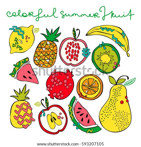 Bright summer fruit: watermelon, kiwi, apple, pear, orange, lemon, pomegranate, pineapple, banana. Isolated vector objects on white background. Fruit set.