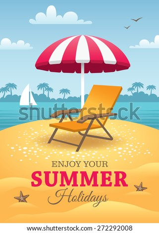 Bright summer holidays poster with orange deck chair and striped pink sun umbrella on the beach with landscape of blue sea, sky, yacht and palm trees on horizon as a background
